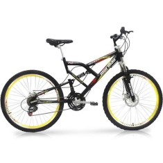 Bicicleta Mountain Bike Mormaii 21 Marchas Aro 26 Suspensão Full Suspension Freio a Disco Big Rider
