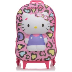 Mochila com Rodinhas Escolar Max Toy by Diplomata Hello Kitty Hello Kitty Leopardo